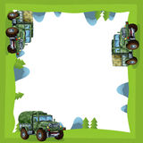 Cartoon frame of a military truck in the forest off road with space for text Stock Photography