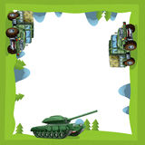 Cartoon frame of a military truck and tank in the forest off road with space for text Stock Photography