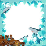 Cartoon frame ocean. Beautiful and colorful illustration for the children Royalty Free Stock Photo