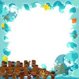 Cartoon frame ocean. Beautiful and colorful illustration for the children Stock Image