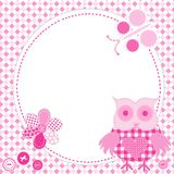 Cartoon frame owl in patchwork style. Cartoon frame with pink owl in patchwork style Stock Photography