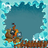 Cartoon frame pirate ship ocean. Beautiful and colorful illustration for the children Royalty Free Stock Photos