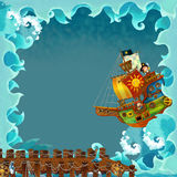 Cartoon frame pirate ship ocean. Beautiful and colorful illustration for the children Royalty Free Stock Photography