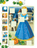 Cartoon frame - with princess standing in the flowers field - glamour manga girl- castle in the background Stock Photography