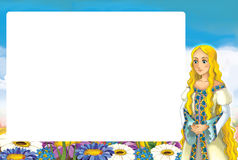 Cartoon frame - with princess standing in the flowers field - glamour manga girl Royalty Free Stock Photography