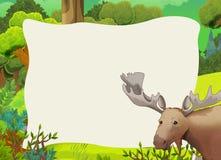 Cartoon frame scene - forest - moose Royalty Free Stock Image