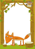 Cartoon frame scene - fox. Beautiful illustration for the children Royalty Free Stock Images