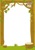 Cartoon frame scene - owl Royalty Free Stock Photo