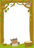 Cartoon frame scene - owl Royalty Free Stock Photo