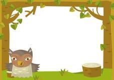 Cartoon frame scene - owl Stock Image
