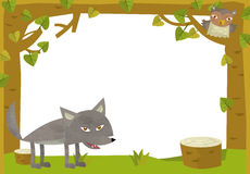 Cartoon frame scene - wolf and owl Royalty Free Stock Photo