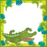 Cartoon frame - wildlife - crocodile Royalty Free Stock Photo
