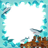 Cartoon frame with wooden port and sharks. Happy and colorful illustration for the children Royalty Free Stock Image