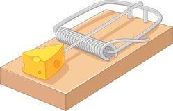 Cartoon free cheese in a mousetrap Stock Photos
