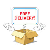 Cartoon Free Delivery Icon. Out of the Box Stock Image