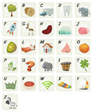 Cartoon French ABC Cliparts Poster. Illustration of a set of cute cartoon ABC letters and font characters, in french language, from tree to zebra for school and Royalty Free Stock Photos