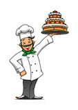 Cartoon french chef with chocolate cake Royalty Free Stock Image