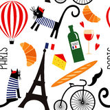 Cartoon french culture symbols seamless pattern. Stock Photography
