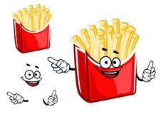Cartoon french fries box character Stock Photos