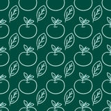 Cartoon fresh apple doodle fruits in flat style seamless pattern food summer design vector illustration. Stock Images