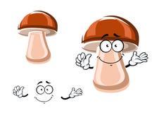 Cartoon fresh brown mushroom character Royalty Free Stock Image