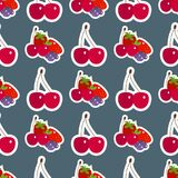 Cartoon fresh cherry fruits in flat style seamless pattern background food summer design vector illustration. Cartoon fresh cherry fruits in flat style seamless Royalty Free Stock Image