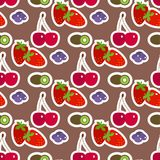 Cartoon fresh cherry fruits in flat style seamless pattern background food summer design vector illustration. Cartoon fresh cherry fruits in flat style seamless Royalty Free Stock Images