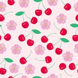 Cartoon fresh cherry fruits in flat style seamless pattern food summer design vector illustration. Cartoon fresh cherry fruits in flat style seamless pattern Stock Photography