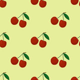 Cartoon fresh cherry fruits in flat style seamless pattern food summer design vector illustration. Royalty Free Stock Images