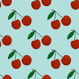Cartoon fresh cherry fruits in flat style seamless pattern food summer design vector illustration. Stock Photo