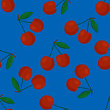 Cartoon fresh cherry fruits in flat style seamless pattern food summer design vector illustration. Cartoon fresh cherry fruits in flat style seamless pattern Royalty Free Stock Image