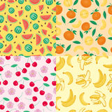 Cartoon fresh cherry fruits in flat style seamless pattern food summer design vector illustration. Cartoon fresh cherry fruits in flat style seamless pattern Stock Images