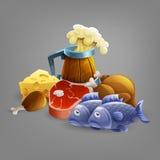 Cartoon fresh food and beer vector. Stock Image