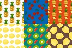 Cartoon fresh fruits in flat style seamless pattern food summer design wallpaper vector illustration. Vegetarian green tropical ornament vitamin sweet organic Royalty Free Stock Image
