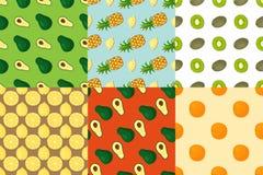 Cartoon fresh fruits in flat style seamless pattern food summer design wallpaper vector illustration. Vegetarian green tropical ornament vitamin sweet organic Royalty Free Stock Images