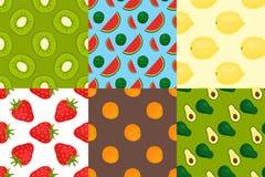 Cartoon fresh fruits in flat style seamless pattern food summer design wallpaper vector illustration. Vegetarian green tropical ornament vitamin sweet organic Stock Photography
