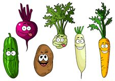 Cartoon fresh funny vegetables Royalty Free Stock Photography