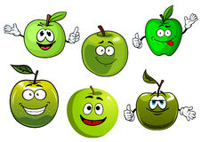 Cartoon fresh green smith apple fruits. Friendly smiling healthy cartoon green apple fruits with fresh farm granny smith apples with leaves. Set of funny fruits Royalty Free Stock Images