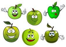 Cartoon fresh green smith apple fruits Royalty Free Stock Images