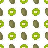Cartoon fresh kiwi fruits in flat style seamless pattern food summer design vector illustration. Cartoon fresh kiwi fruits in flat style seamless pattern food Stock Photo