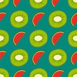 Cartoon fresh kiwi fruits in flat style seamless pattern food summer design vector illustration. Cartoon fresh kiwi fruits in flat style seamless pattern food Stock Photography