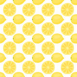 Cartoon fresh lemon fruits in flat style seamless pattern food summer design vector illustration. Royalty Free Stock Photography