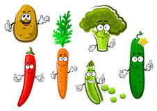 Cartoon fresh organic vegetable characters. Cartoon carrot, potato, cucumber, pea, broccoli and chilli pepper vegetable characters with funny smiles. For healthy Stock Photography