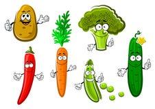 Cartoon fresh organic vegetable characters Stock Photography