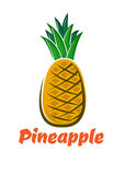 Cartoon fresh pineapple fruit poster Stock Photography