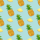 Cartoon fresh pineapple fruits in flat style seamless pattern food summer design vector illustration. Cartoon fresh pineapple fruits in flat style seamless Royalty Free Stock Images