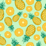 Cartoon fresh pineapple fruits in flat style seamless pattern food summer design vector illustration. Cartoon fresh pineapple fruits in flat style seamless Royalty Free Stock Photos