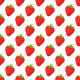Cartoon fresh strawberry fruits in flat style seamless pattern food summer design vector illustration. Cartoon fresh strawberry fruits in flat style seamless Royalty Free Stock Photography