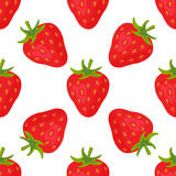 Cartoon fresh strawberry fruits in flat style seamless pattern food summer design vector illustration. Cartoon fresh strawberry fruits in flat style seamless Stock Images