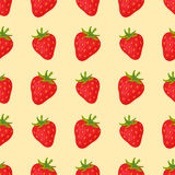 Cartoon fresh strawberry fruits in flat style seamless pattern food summer design vector illustration. Cartoon fresh strawberry fruits in flat style seamless Royalty Free Stock Photo